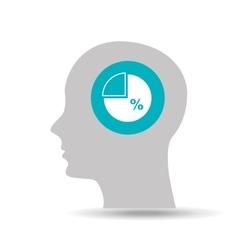 Silhouette head statistics percentage icon graphic vector