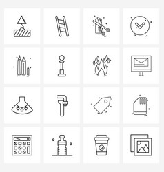 Simple set 16 line icons such as pen down vector
