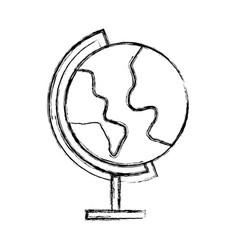 Sketch draw world map cartoon vector