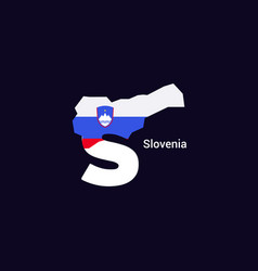 Slovenia initial letter country with map and flag vector