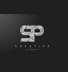 Sp s p letter logo with zebra lines texture vector