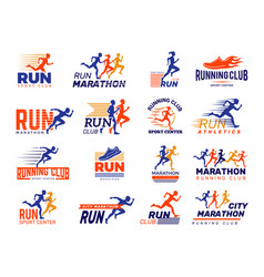 sport logo healthy running marathon athletes vector image