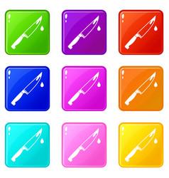 steel knife set 9 vector image