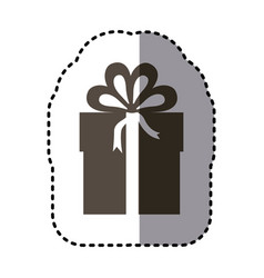 sticker monochrome gift box with ribbon wrapping vector image