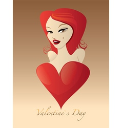Sweet valentines girl vector