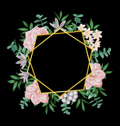 Template with gold geometric frame and pink vector