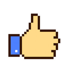 thumb up pixel art cartoon retro game style vector image