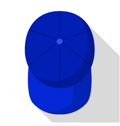 top view of blue baseball cap icon flat style vector image