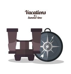 vacations summer time - binoculars compass vector image