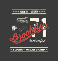 Vintage urban typography with tyrannosaurus head vector
