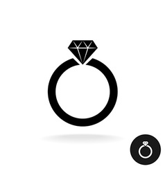 wedding engagement ring simple black icon vector image