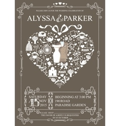 Wedding invitation with heart compositionWedding vector