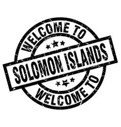 Welcome to solomon islands black stamp vector