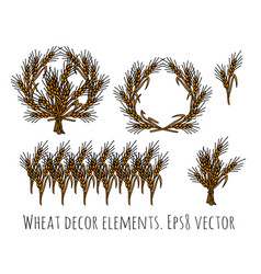Wheat rye objects isolate decor elements vector