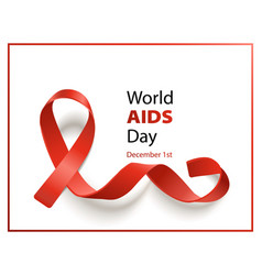 world aids day banner with realistic red ribbon on vector image