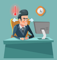 angry businessman cartoon with computer vector image vector image