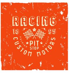car racing badge in retro style vector image vector image