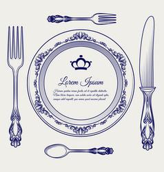 cutlery vintage set ball pen sketch vector image vector image
