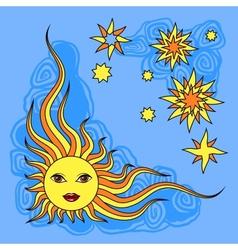 Fantasy hand drawn sun over white vector image