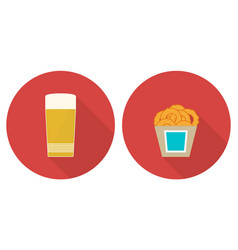 Flat glass of beer and onion rings vector