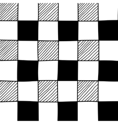 Hand drawn abstract chessboard pattern vector image vector image