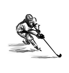 ink sketch hockey player vector image