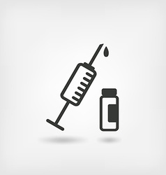 medical symbol syringe and vial vector image