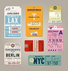 Vintage luggage tags 02 vector