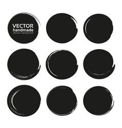 black abstract circles set from thick black vector image vector image