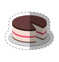 cake dessert food shadow vector image vector image