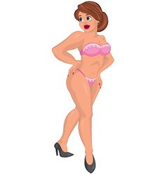 Cartoon young sexy woman in pink underwear vector image