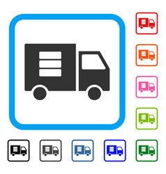 data transfer van framed icon vector image vector image
