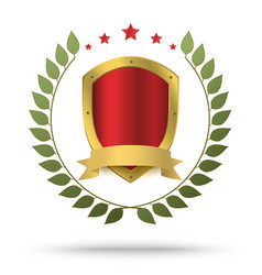 Gold metal shield in green wreath and red stars vector