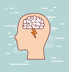 head silhouette with brain and lightning in white vector image