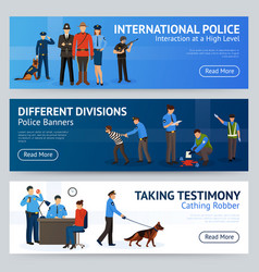 international police service flat banners set vector image