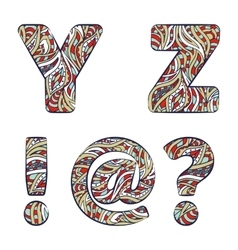 Letters Y Z exclamation mark question mark at vector image