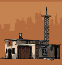 Old dilapidated two-story building with a metal vector