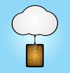technology cyber security tablet cloud connect vector image vector image