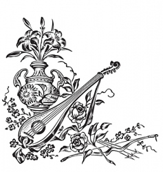 antique corner decoration engraving vector image vector image