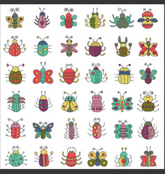 color flat line insects icons set butterfly bugs vector image