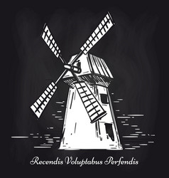 hand sketched mill on chalkboard background vector image vector image