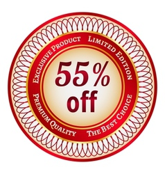 Label on 55 percent discount vector image