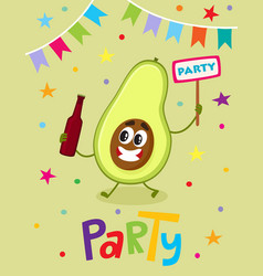 Party flayer template with funny avocado character vector