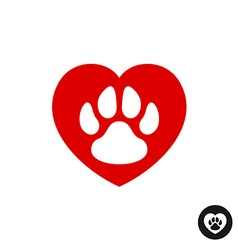 Pet paw love logo Animal footprint with heart vector image vector image