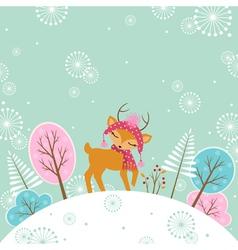 Cute winter deer vector image vector image
