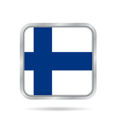 flag of finland shiny metallic gray square button vector image vector image