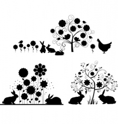 set of Easter silhouettes vector image vector image