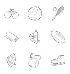 sport festival icons set outline style vector image