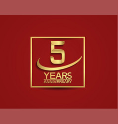5 years anniversary with square and swoosh golden vector