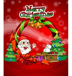 a colorful christmas template with santa claus vector image